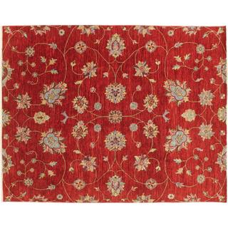 Oushak Mojgan Red Hand-knotted Rug (8' x 10'1)