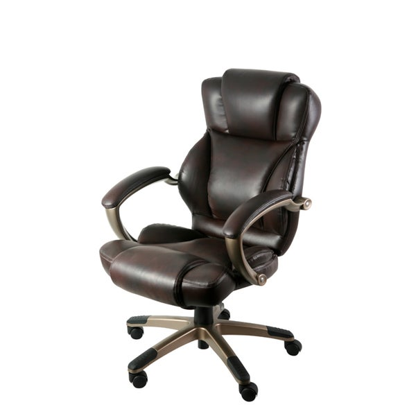 dark brown bonded executive chair free shipping today overstock