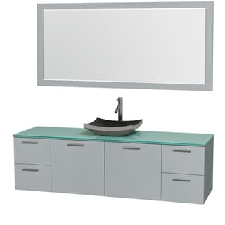Wyndham Collection Amare Dove Grey Green Glass Top 72-inch Single Vanity with 70-inch Mirror with Altair Sink
