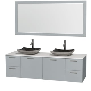 Wyndham Collection Amare Dove Grey White Man-made Stone Top 72-inch Double Vanity with 70-inch Mirror and Altair Sink