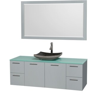 Wyndham Collection Amare Dove Grey Green Glass Top 60-inch Single Vanity with 58-inch Mirror and Avalon Sink