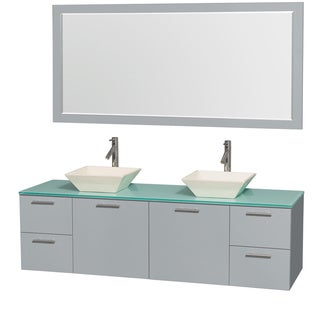 Wyndham Collection Amare Dove Grey Green Glass Top 72-inch Double Vanity with 70-inch Mirror and Pyra Sink