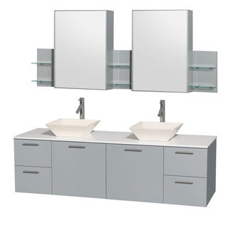 Wyndham Collection Amare Dove Grey White Man-made Stone Top 72-inch Double Vanity with Medicine Cabinet and Pyra Sink