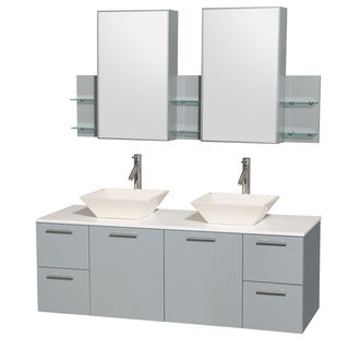 Wyndham Collection Amare Dove Grey White Man-made Stone Top 60-inch Double Vanity with Medicine Cabinet and Pyra Sink