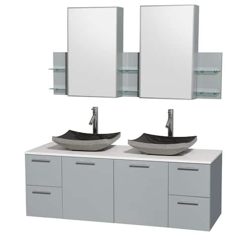 Wyndham Collection Amare Dove Grey White Man Made Stone Top 60 Inch Double Vanity