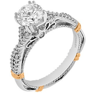Verragio 14k Two-tone Gold Cubic Zirconia and 1/6ct TDW Diamond Engagement Ring (G-H, SI1-SI2)
