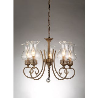 Bailona 5-light Glass Shade 21-inch Antique Bronze Chandelier