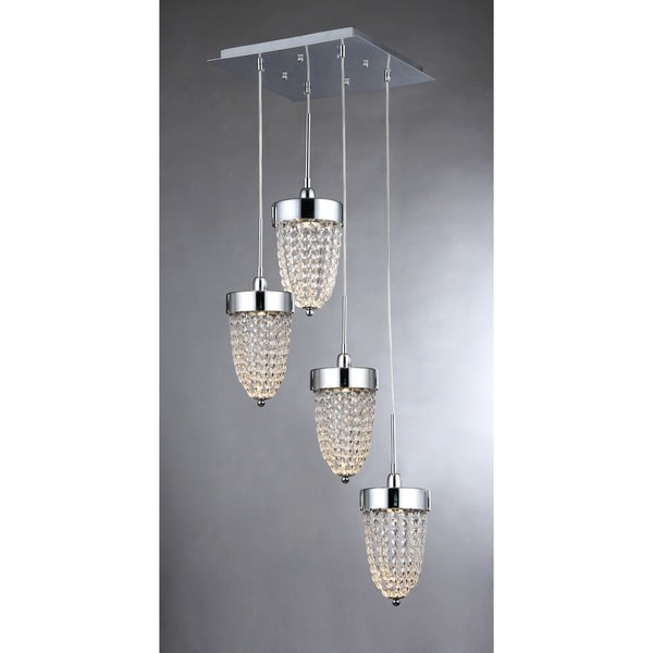 Adalyn 4 Light Chrome 14 Inch Crystal Pendant Lamp