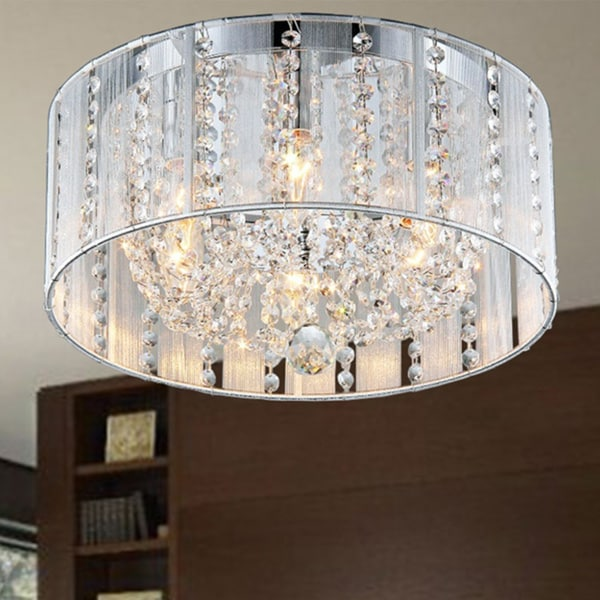 Addison White 16-inch Crystal Flush Mount