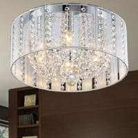 Warehouse of Tiffany Addison 4-light White Iron and Crystal 16-inch Flush Mount
