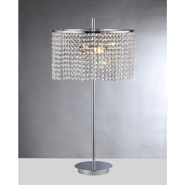 Leah 2-light Chrome 15-inch Crystal Table Lamp - Clear