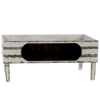Wood Rectangular Crate with Black Stadium Shaped Label and 4 Legs Large Distressed FInish White