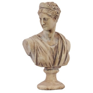 Medium Distressed Tan Cement Greek Deity Artemis Bust on a Pedestal