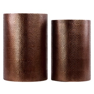 Metallic Brown Metal Cylindrical Table with Dimpled Finish (Set of Two)