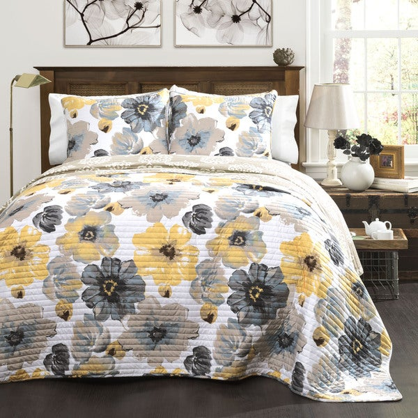 Lush Decor Leah Grey And Yellow Floral 3 Piece Quilt Set