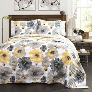Maison Rouge Levine Grey and Yellow Floral 3-piece Quilt Set