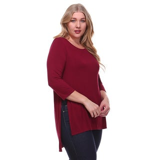 Women's Plus Size Solid Jersey Piko Top with Slit Sides