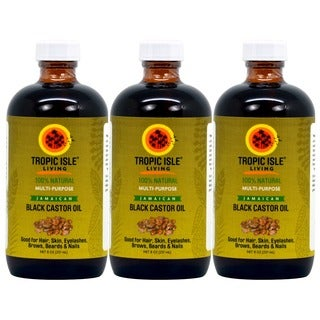 Tropic Isle 8-ounce Jamaican Black Castor Oil with Applicator (Pack of 3)
