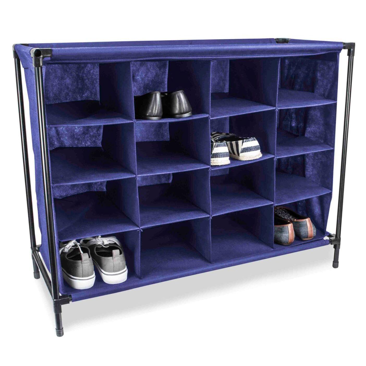 Sunbeam 16-Compartment Cubby Shoe Rack (Blue) (Plastic)
