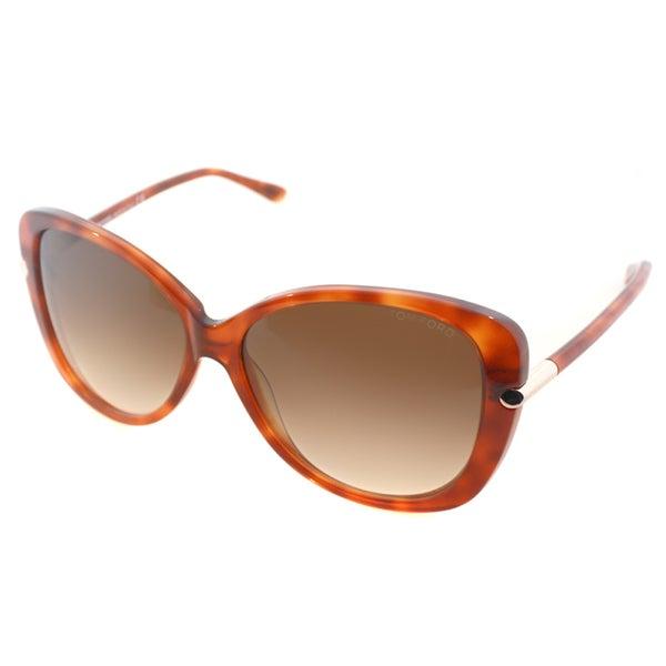 Tom Ford Women's TF 324 Linda 56F Havana Plastic Butterfly Sunglasses. Opens flyout.