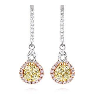 Luxurman 14k White Gold 1 1/3ct TDW Diamond Drop Earrings (G-H, VS1-VS2)