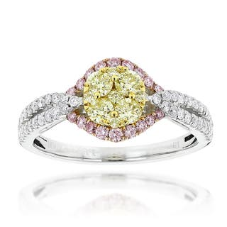 Luxurman 14k White Gold 1 1/5ct TDW 3-color Diamond Engagement Ring|https://ak1.ostkcdn.com/images/products/10953093/P17979039.jpg?impolicy=medium