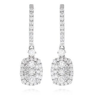 Luxurman 14k White Gold 1 1/10ct TDW Diamond Oval Drop Earrings (G-H, VS1-VS2)