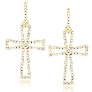 Luxurman 14k Gold 7/8ct TDW Diamond Cross Earrings (H-I, SI1-SI2)