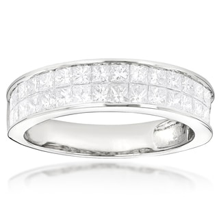 Luxurman 14k Gold 2ct Princess-cut Diamond Wedding Band