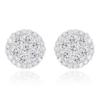 Luxurman 14k Gold 1 1/5ct TDW Cluster Diamond Stud Earrings (H-I, SI1-SI2)