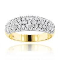 Luxurman 14k Gold 1 1/2ct TDW Pave Diamond Ring