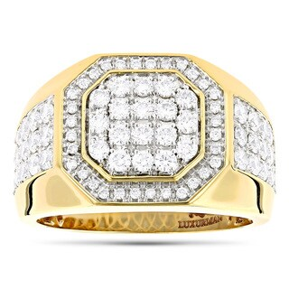 Luxurman 14k Yellow Gold Men's 1 7/8ct TDW Diamond Ring (G-H, VS1-VS2)