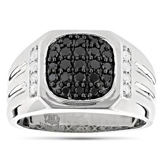 Luxurman 14k White Gold Men's 1ct TDW White and Black Diamond Pinky Ring (G-H, VS1-VS2)