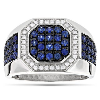 Luxurman 14k White Gold Men's 1 7/8ct TDW Diamond and Blue Sapphire Ring (G-H, VS1-VS2)