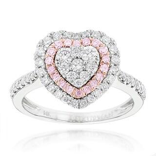 Luxurman 14k White Gold 1ct TDW Pink Diamond Heart Ring (G-H, VS1-VS2)