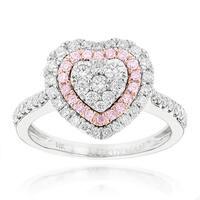 Luxurman 14k White Gold 1ct TDW Pink Diamond Heart Ring