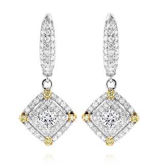 Luxurman 14k White Gold 1 1/10ct Diamond Earrings