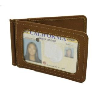 Piel Leather Bi-Fold Money Clip with ID Window