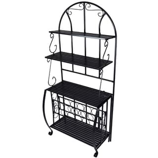 Iron Baker Rack with Wine Holder