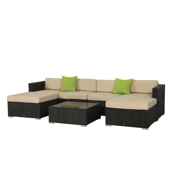 BroyerK 7 Piece Beige Outdoor Rattan Patio Furniture Set. BroyerK 7 Piece Beige Outdoor Rattan Patio Furniture Set   Free