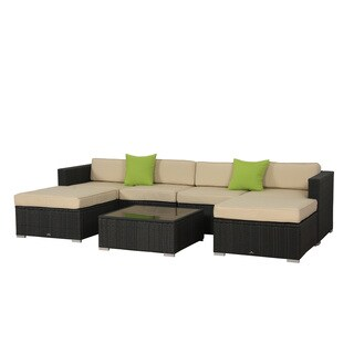 BroyerK 7-Piece Beige Outdoor Rattan Patio Furniture Set