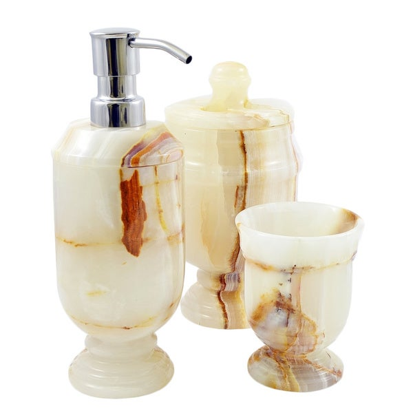 Nature home decor siberian collection white onyx 3 piece for Bathroom decor collections