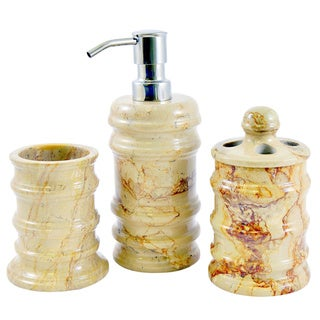 Nature Home Decor Bengal Collection Sahara Beige Marble 3-Piece Bathroom Accessory Set