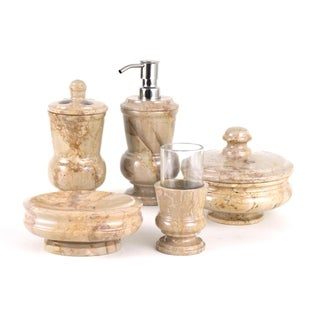 Nature Home Decor Mediterranean Collection Sahara Beige Marble 5-piece Bathroom Accessory Set