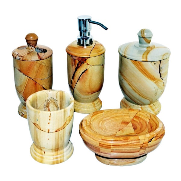 Nature home decor atlantic collection teakwood marble 5 for Decor 8 piece lunch set