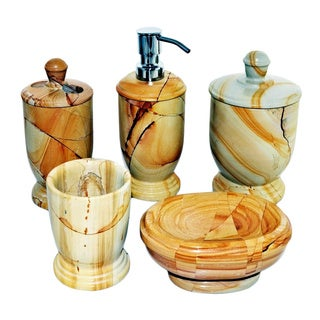 Nature Home Decor Atlantic Collection Teakwood Marble 5-Piece Bathroom Accessory Set