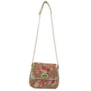 Ivory Tag Rosette Hand-embroidered Crossbody Bag (India)