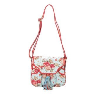 Ivory Tag Chintzy Turquoise Red Suede Crossbody Bag (India)