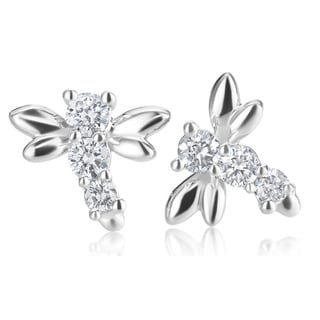 SummerRose, 14k White gold Diamond Dragonfly Earrings 1/3 TDW ( H-I, SI1-SI2)