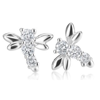 SummerRose 14k White Gold 1/3ct TDW Diamond Dragonfly Stud Earrings